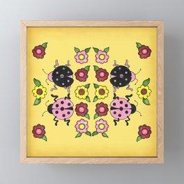 Ladybugs with Flowers Framed Mini Art Print