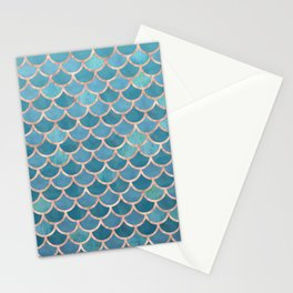 Mermaid Scales in Teal and Rose Gold Stationery Cards