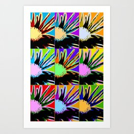 Poster with flower picture in pop art style Art Print