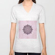 Pink Mandala Fractal Art Unisex V-Neck