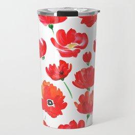 Red poppy, watercolor Travel Mug