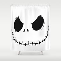 jack skellington Shower Curtains featuring Skellington by Canis Picta