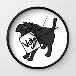 Cute Dog with Vote Sign Wall Clock