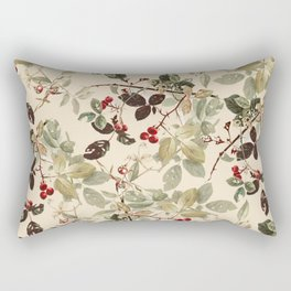 Vintage ivory red green forest berries floral Rectangular Pillow
