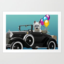 Foxterrier in old cabriolet car with balloons Art Print