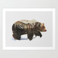 Art Prints featuring Arctic Grizzly Bear by Andreas Lie