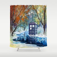 fandom Shower Curtains featuring Starry Winter blue phone box Digital Art iPhone 4 4s 5 5c 6, pillow case, mugs and tshirt by Three Second