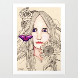Woman with Gerbera and Sunflower Art Print