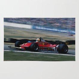 Sketch of F1 Champion Jody Scheckter - year 1979 car 312 T4 Rug