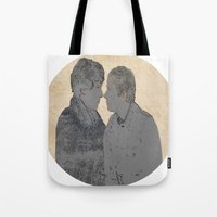 johnlock Tote Bags featuring PRESSURE POINT  by thescudders