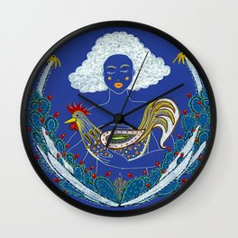 Lady with Rooster Wall Clock