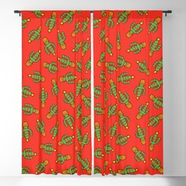 Cactus Christmas Tree in Red Blackout Curtain