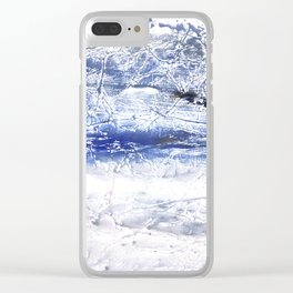 Gray Blue Marble nebulous watercolor Clear iPhone Case