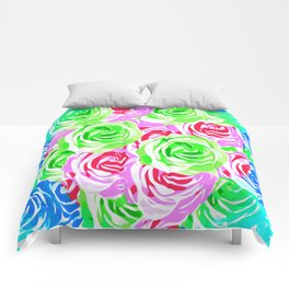 colorful rose pattern abstract in pink blue green Comforters