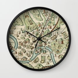 Vintage Map of Rome Italy (1719) Wall Clock