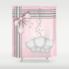 Silver hearts on pastel pink with pretty matching bow Shower Curtain
