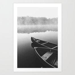 Black And White Minimalist Boats Art Print