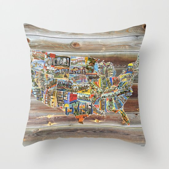Greetings From Throw Pillow