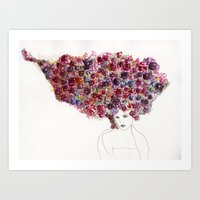 Her Hair is a Bed of Roses Art Print