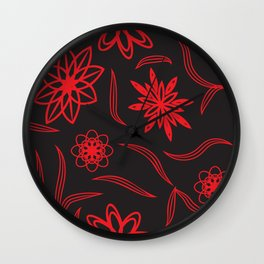pattern with leaves and flowers linocut style Wall Clock