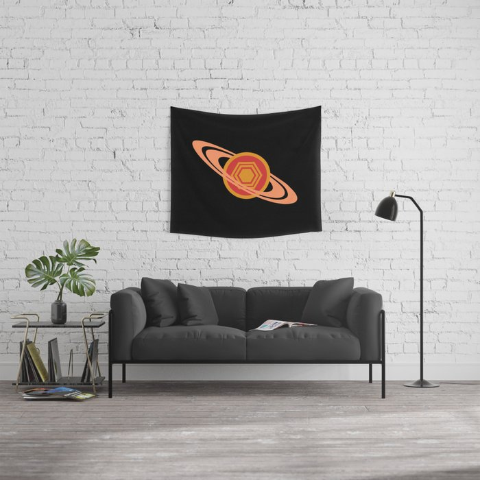 Saturn's Hexagon Wall Tapestry