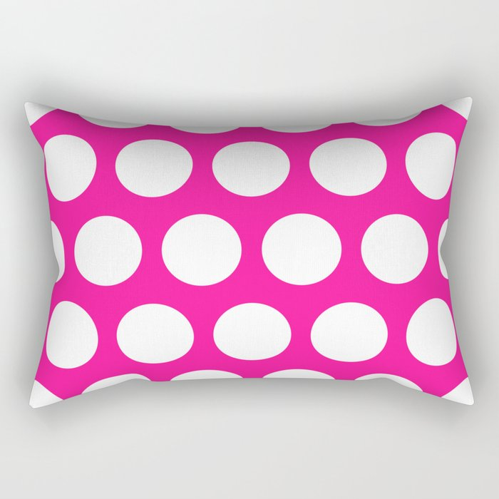 Big polka dots on deep pink Rectangular Pillow