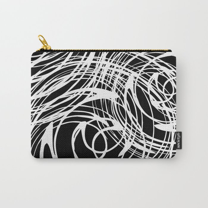 Abstract white pattern on a black background . Carry-All Pouch