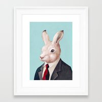 rabbit Framed Art Prints featuring Rabbit by Animal Crew