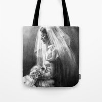 bride Tote Bags featuring Bride by Hugo F G