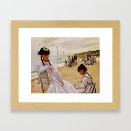 On the Beach at Trouville by Claude Monet Framed Art Print