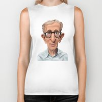 celebrity Biker Tanks featuring Celebrity Sunday ~ Woody Allen by rob art | illustration