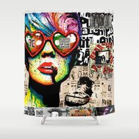 punk rock Shower Curtains featuring Punk Rock poster by Mira C