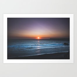 A colorful equinox sunset in Portugal next to the sea. Art Print