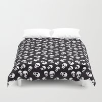 skulls Duvet Covers featuring Skulls by Sara Showalter