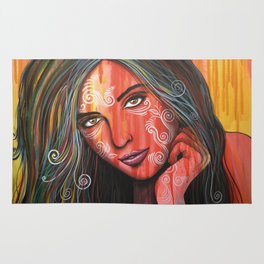 Abstract art portrait face woman girl painting ... Memories Rug