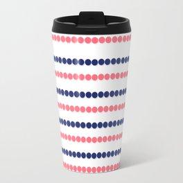 Modern nautical blue coral polka dots stripes pattern Travel Mug