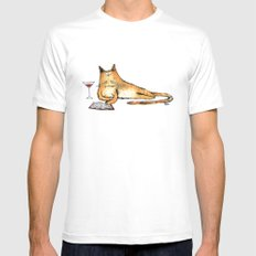 The Cat Relaxes MEDIUM White Mens Fitted Tee