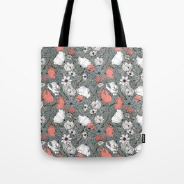 Seamless pattern design with hand drawn flowers and floral elements Tote Bag