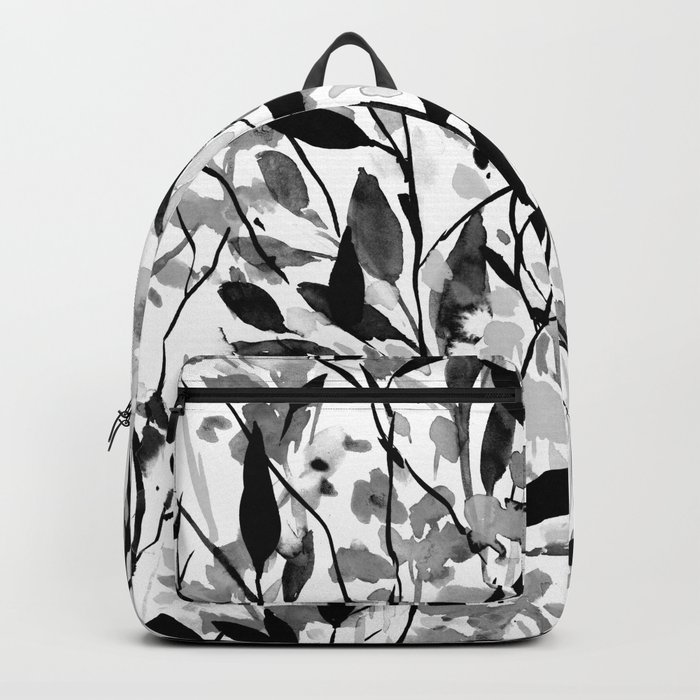 Wandering Wildflowers Black and White Backpack