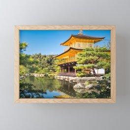 Side View of the Golden Pavilion in Kyoto, Japan. Framed Mini Art Print