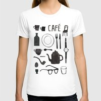 cafe T-shirts featuring Cafe by The Printed Peanut