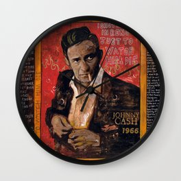 Red Johnny Cash Wall Clock