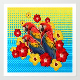 YELLOW-BLUE  FLORAL MACAWS & RED YELLOW HIBISCUS Art Print