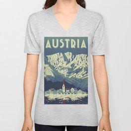 Austria Vintage Travel Poster Commercial Air Travel Poster Unisex V-Neck