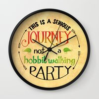 hobbit Wall Clocks featuring Hobbit Party by Purrito Press