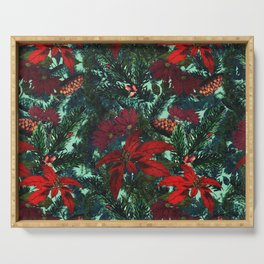 Poinsettia and Pine Serving Tray