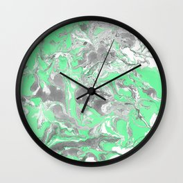 Light green and gray Marble texture acrylic paint art Wall Clock