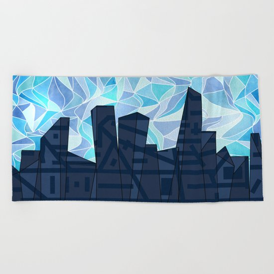 Barruf's Skyline In Blue Beach Towel