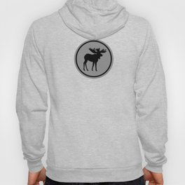 Bull Moose Silhouette - Black on Gray Hoody