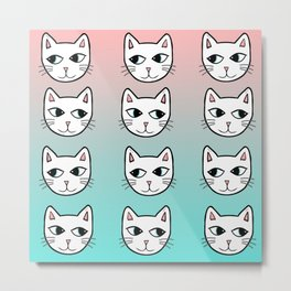 Whimsical White Cats Mint Pink Pattern Metal Print
